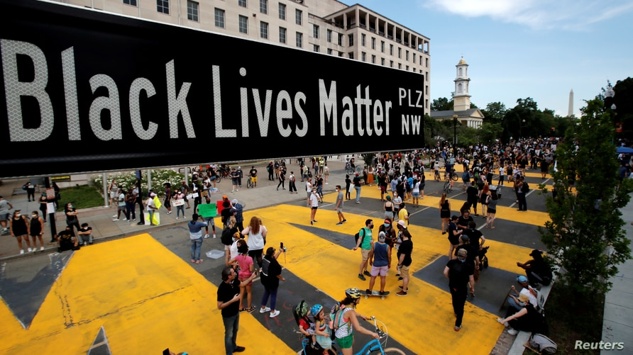 A street sign of Black Lives Matter Plaza is seen near St. John's Episcopal Church, as the protests against the death in Minneapolis police custody of George Floyd continue, in Washington, U.S., June 5, 2020.