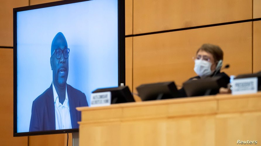 George Floyd's brother, Philonise Floyd, speaks (via video message) before the High Commissioner for Human Rights Michelle…