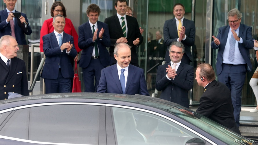 Taoiseach Micheal Martin, leader of the Fianna Fail party leaves the Convention Centre, en route to the president's residence…