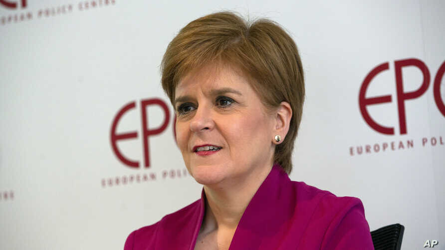 Scotland's First Minister Nicola Sturgeon speaks during an event 'Scotland's European Future after Brexit' at the European…