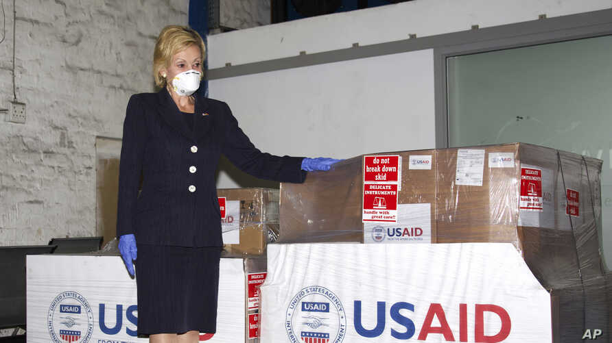 FILE - U.S. Ambassador to South Africa Lana Marks posing with ventilators donated by the U.S. Government, May 11, 2020.