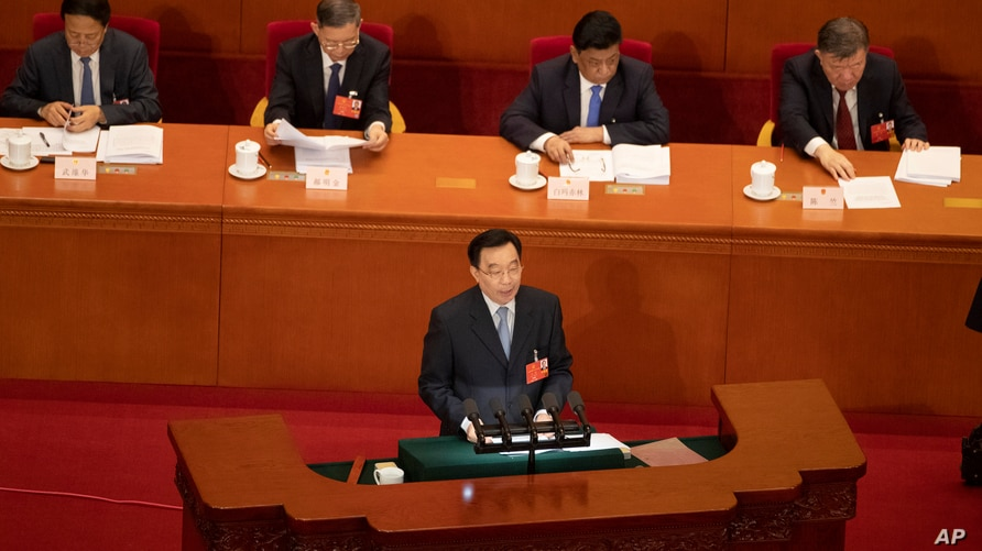 In this photo taken Friday, May 22, 2020, Wang Chen, vice chairman of the Standing Committee of the National People's Congress …