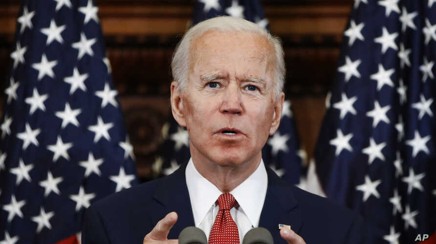 Democratic presidential candidate, former Vice President Joe Biden speaks in Philadelphia, June 2, 2020.