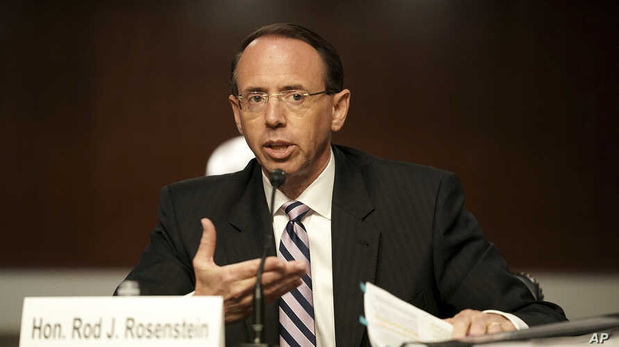 Former Deputy Attorney General Rod Rosenstein testifies before a Senate Judiciary Committee hearing on Capitol Hill in…