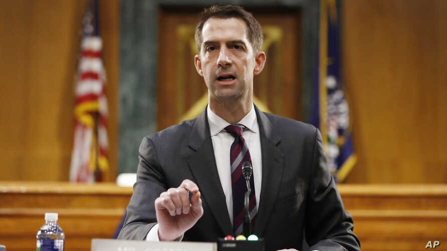 FILE - Sen. Tom Cotton, R-Ark., speaks during a Senate Intelligence Committee nomination hearing for Rep. John Ratcliffe, R-Texas, on Capitol Hill in Washington, May 5, 2020.