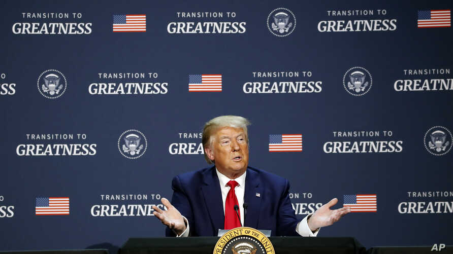 """President Donald Trump speaks during a roundtable discussion about """"Transition to Greatness: Restoring, Rebuilding, and…"""