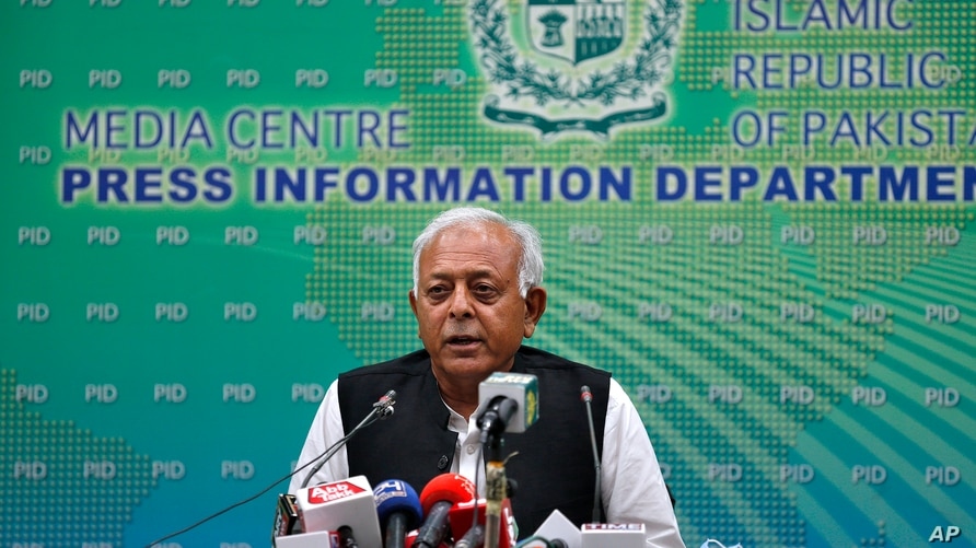 Pakistan's aviation minister Ghulam Sarwar Khan speaks during a press conference in Islamabad, Pakistan, June 24, 2020.