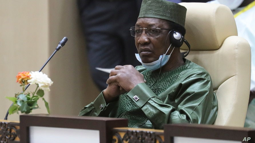 Chad President Idriss Deby takes part in a working session during the G5 Sahel summit Tuesday, June 30, 2020, in Nouakchott…