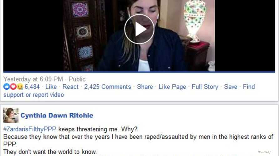 A screenshot of the Facebook post by the Pakistan-based American blogger Cynthia Ritchie who accused several of Pakistan's top opposition politicians of raping and manhandling her, June 6, 2020.