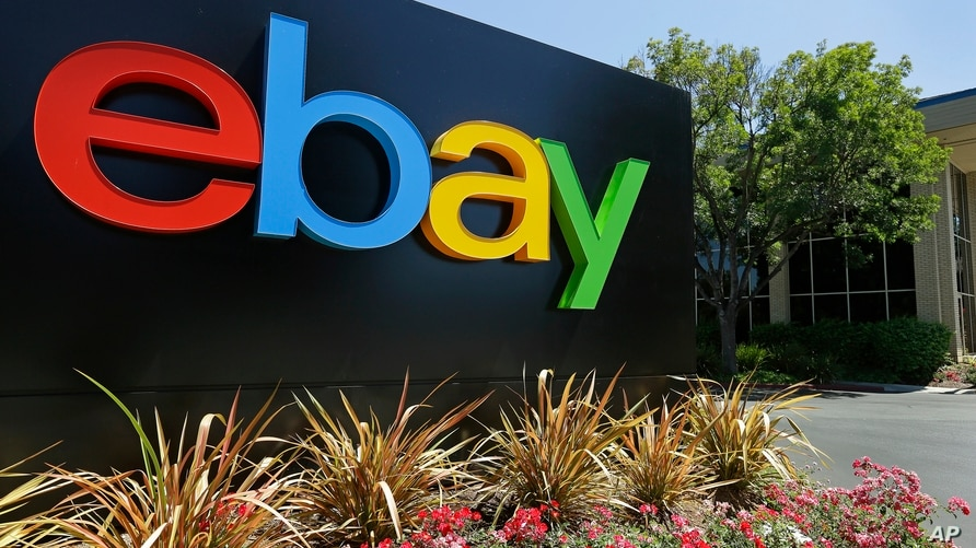 FILE -  Signage at eBay headquarters in San Jose, California, July 16, 2013.