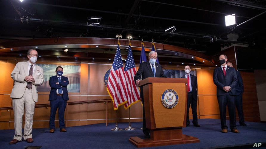 House Majority Leader Steny Hoyer speaks, accompanied by other Democratic House members, during a news conference on Capitol Hill, after a meeting at the White House, in Washington, June 30, 2020.