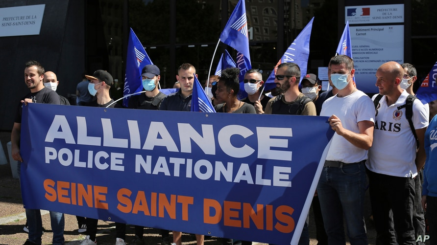 Unionists police officers gather outside an official building in Bobigny, outside Paris, France, June 22, 2020.