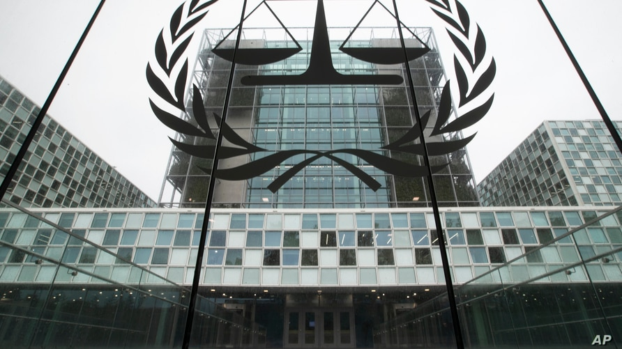 FILE- The building of the International Criminal Court is seen in The Hague, Netherlands, Nov. 7, 2019.
