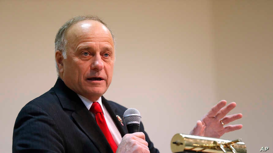 Rep. Steve King, R-Iowa, speaks during a town hall meeting in Primghar, Iowa, Jan. 26, 2019.