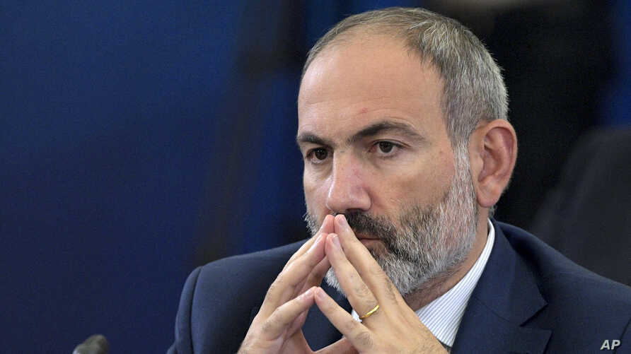 FILE - Armenian Prime Minister Nikol Pashinyan attends the Eurasian Economic Council in Yerevan, Armenia, Oct. 1, 2019.