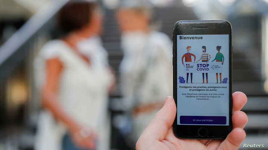 A screenshot showing the tracking application StopCovid is seen on a mobile phone in this illustration picture taken in Nantes, France, June 2, 2020.