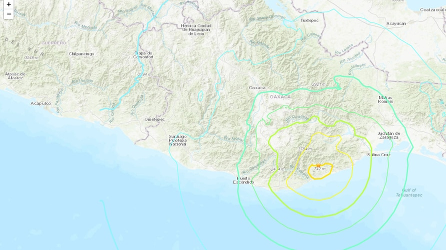 Mexico earthquake locator map (Credit: USGS)