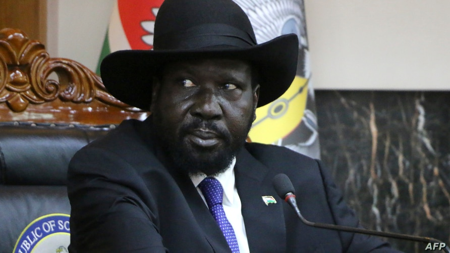South Sudanese President Salva Kiir attends a press conference on February 15, 2020 in Juba. - Kiir declared he would return to…