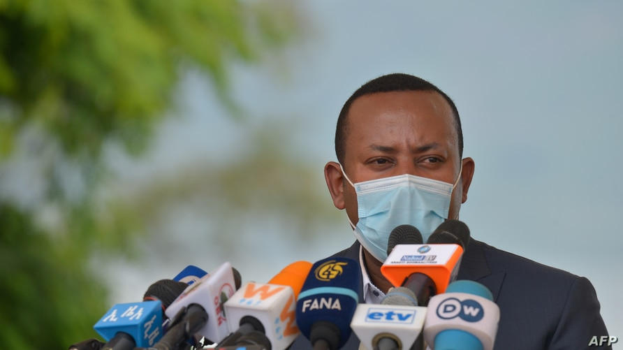 Ethiopia's Prime Minister Abiy speaks before planting a tree during the tree-planting ceremony of his initial project to plant…