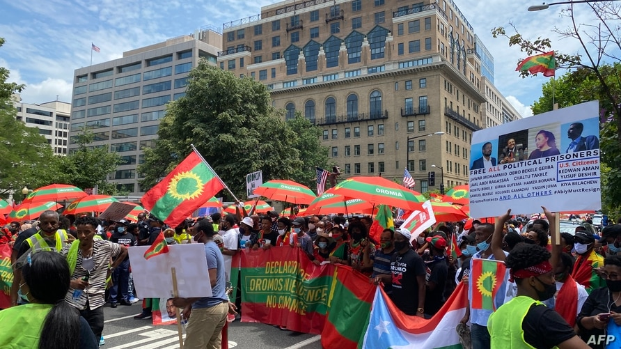 Members of the Oromo Ethiopian community in the US demonstrate in Washington DC, on July 17, 2020, in support the Oromo…