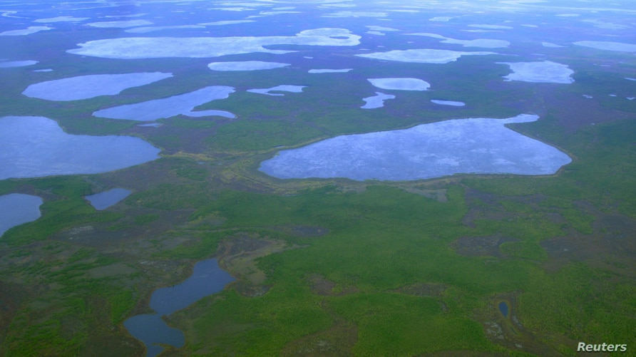 An aerial view shows thermokarst lakes outside the town of Chersky in northeast Siberia August 28, 2007. For millennia, layers…