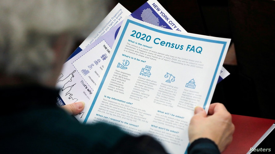 FILE PHOTO: A person holds census information at an event in Queens, New York City, U.S., February 22, 2020. REUTERS/Andrew…