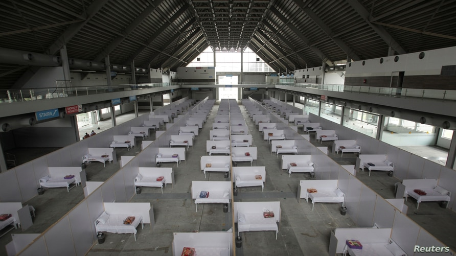 A general view of beds set up at the premises of the Expo Center, after the government turned it into a hospital following the…