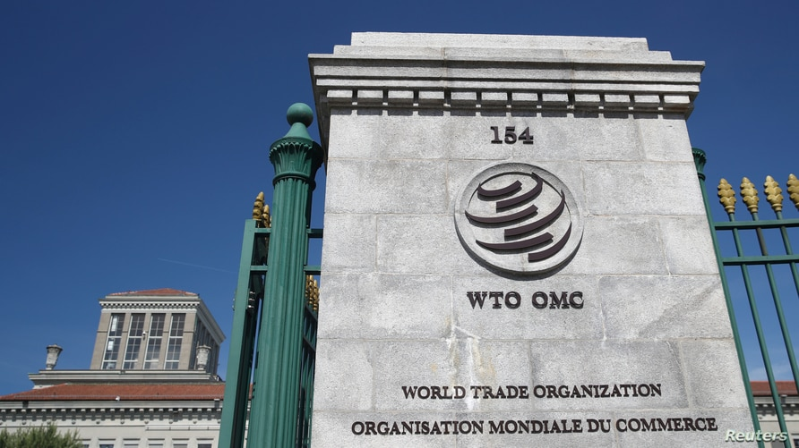 FILE PHOTO: A logo is pictured on the headquarters of the World Trade Organization (WTO) in Geneva, Switzerland, June 2, 2020…