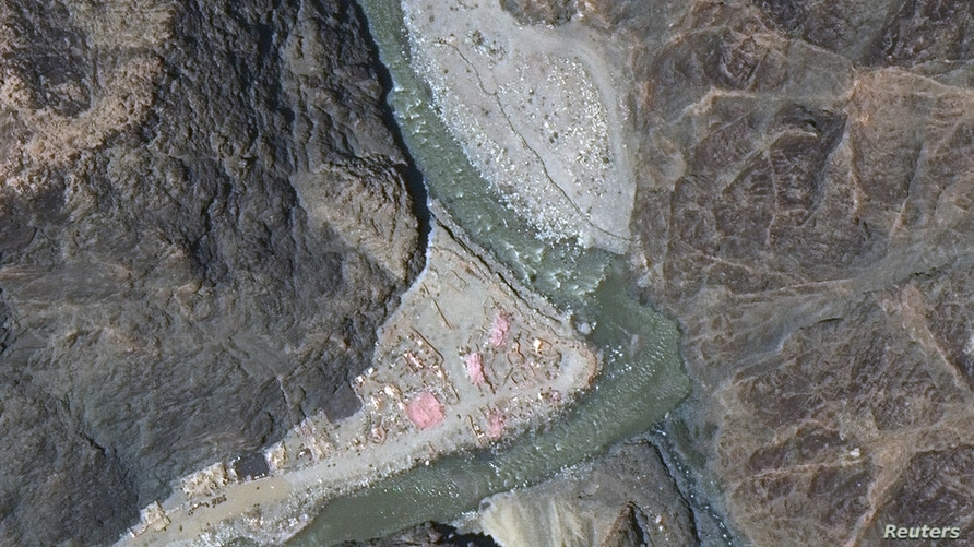 Maxar WorldView-3 satellite image shows close up view of the Line of Actual Control (LAC) border and patrol point 14 in the…