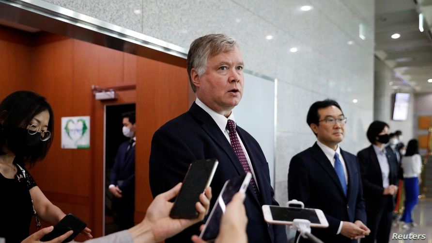 U.S. Deputy Secretary of State Stephen Biegun speaks to the media beside his South Korean counterpart Lee Do-hoon after their…