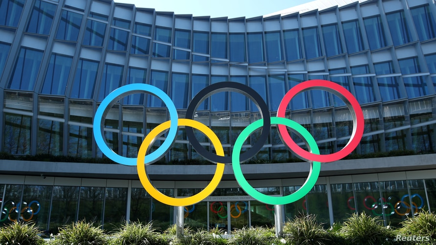 FILE PHOTO: The Olympic rings are pictured in front of the International Olympic Committee (IOC) during the coronavirus disease…