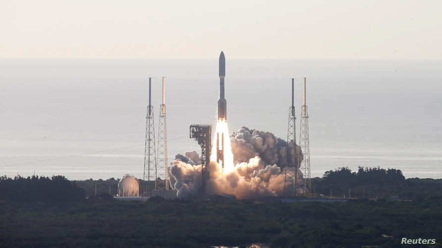 A United Launch Alliance Atlas V rocket carrying NASA's Mars 2020 Perseverance Rover vehicle takes off from Cape Canaveral.