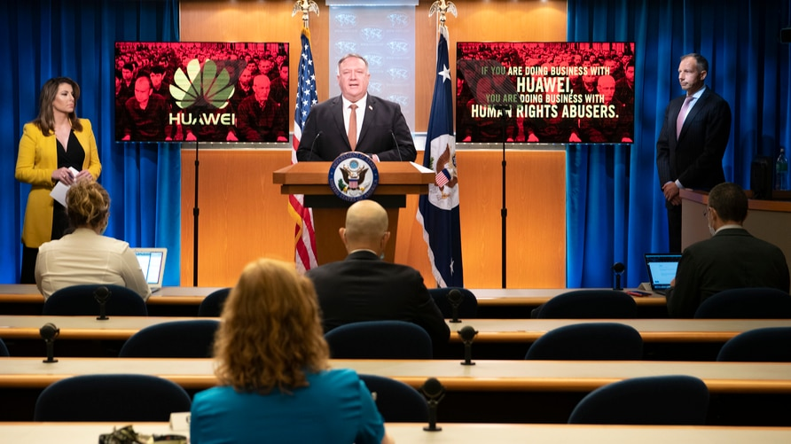 U.S. Secretary of State Michael R. Pompeo delivers remarks to the media in the Press Briefing Room, at the Department of State in Washington, D.C., July 15, 2020.
