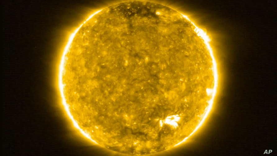This image, provided by the European Space Agency (ESA) on Thursday, July 16, 2020, shows the Sun. The Extreme Ultraviolet Imager (EUI) on ESA's Solar Orbiter spacecraft took this image on 30 May 2020.