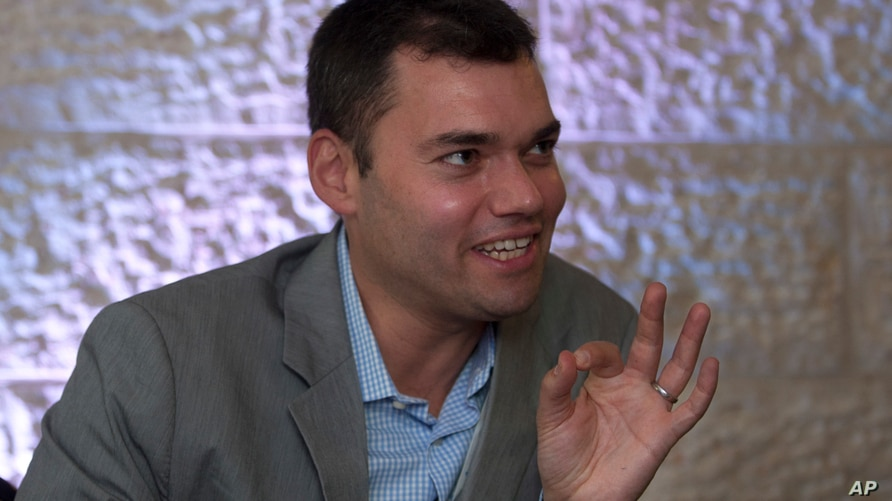 FILE - Peter Beinart, a prominent Jewish-American commentator speaks during an interview with The Associated Press in Jerusalem.