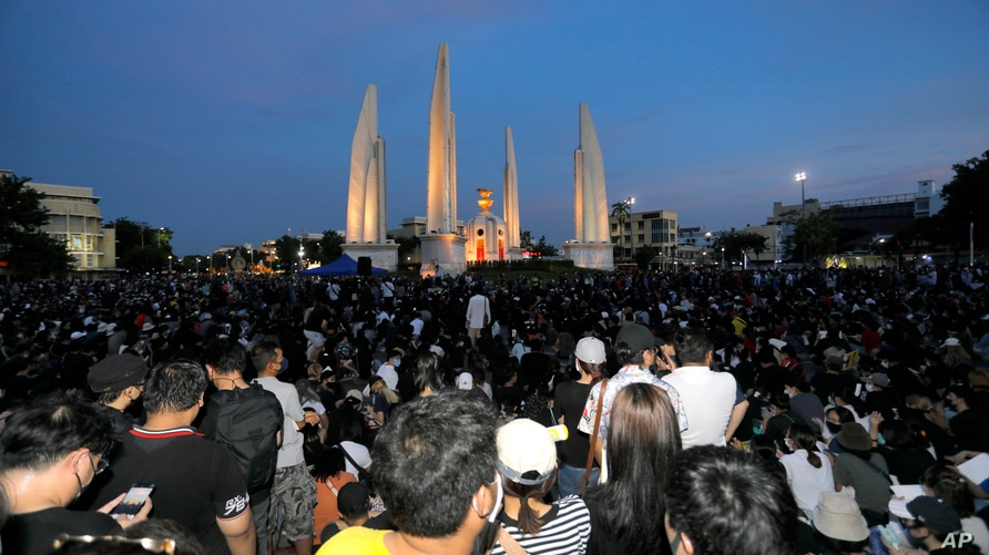 Thai anti-government protesters gather front of the Democracy Monument in Bangkok, Thailand, July 18, 2020.
