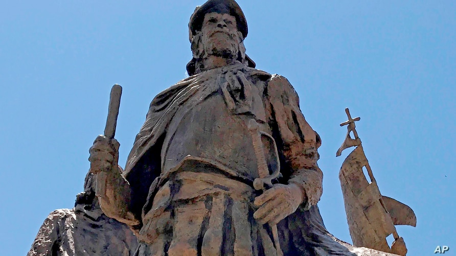 This bronze statue of Don Juan de Onate leading a group of Spanish settlers from an area near what is now Ciudad Chihuahua,…