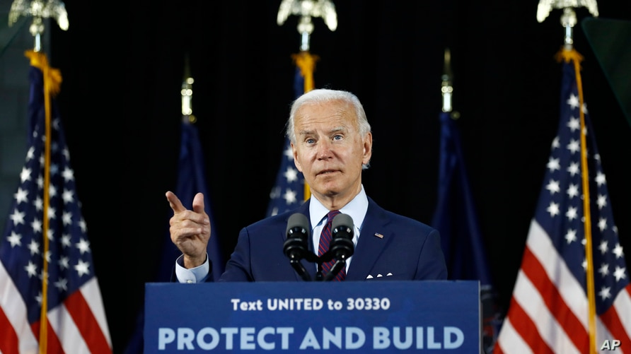 Democratic presidential candidate, former Vice President Joe Biden speaks during an event, June 25, 2020, in Lancaster, Pa.