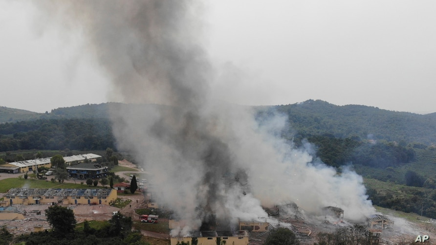 Smoke billows from a fire following an explosion at a fireworks factory outside the town of Hendek, Sakarya province, northwestern Turkey, July 3, 2020.