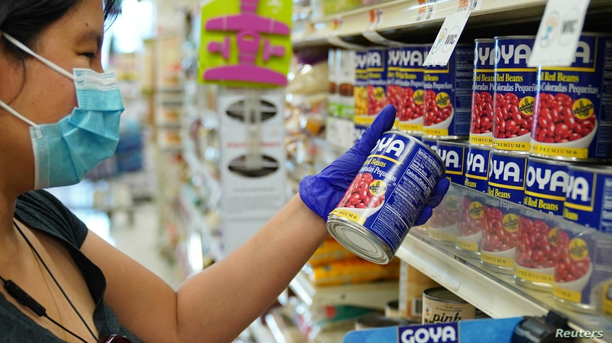Products by Goya Foods Company seen on shelves of Stop&Shop supermarket in the Queens as company boycott takes off after Robert Unanue, CEO of Goya Foods, appeared in the White House Rose Garden and praised President Trump, July 12, 2020.
