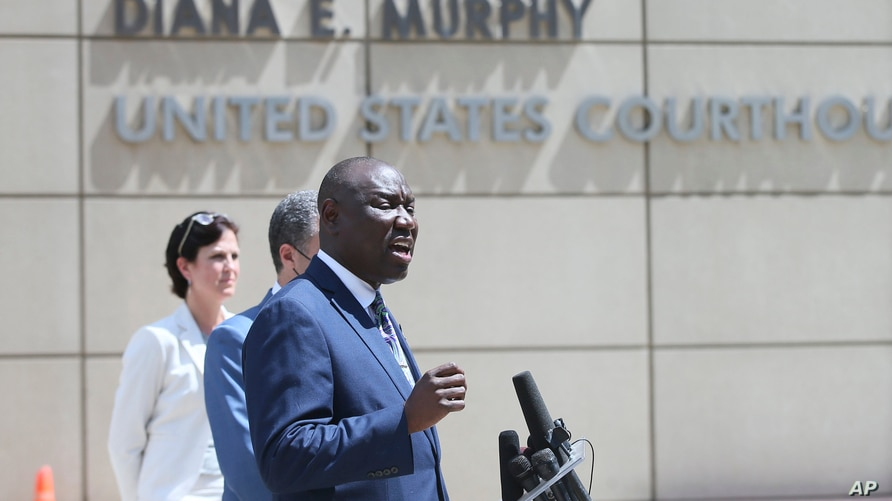 Attorney Ben Crump speaks during a news conference Wednesday, July 15, 2020 in Minneapolis announcing a civil lawsuit against…
