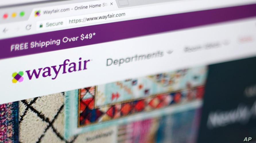 FILE - This April 17, 2018, file photo shows the Wayfair website on a computer in New York. Self-proclaimed internet sleuths…