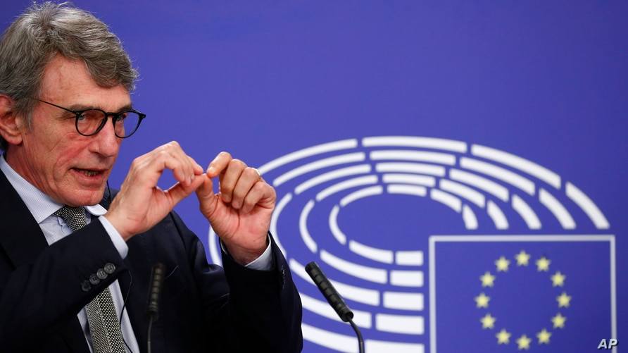 European Parliament President David Sassoli talks during a news conference following the recovery financial plan deal at the EU leaders summit, at the European Parliament in Brussels, July 22, 2020.
