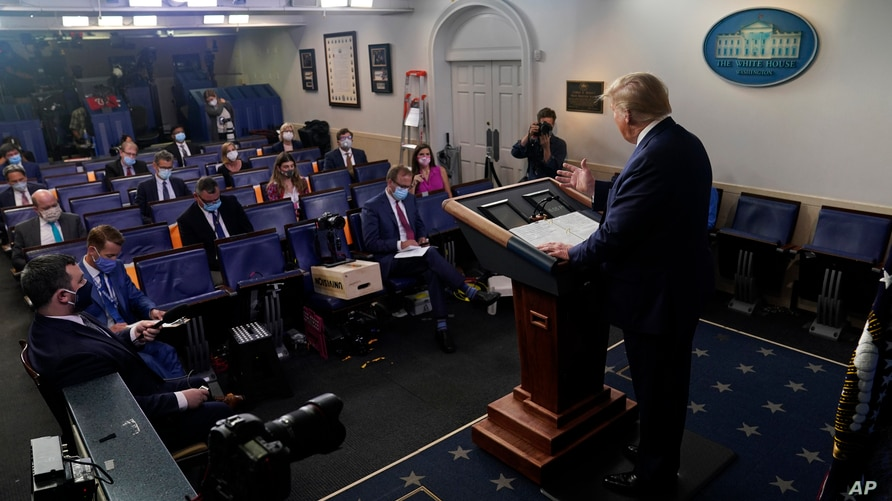 President Donald Trump speaks during a news conference at the White House, July 22, 2020, in Washington.