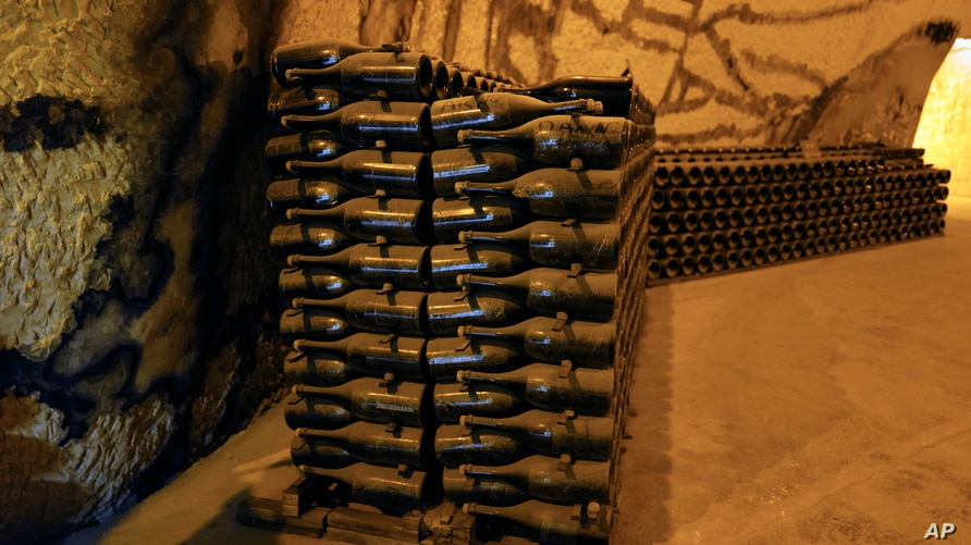 Champagne bottles piled in the cave of the Vranken-Pommery Monopole in Reims, the Champagne region, east of Paris, Tuesday,…