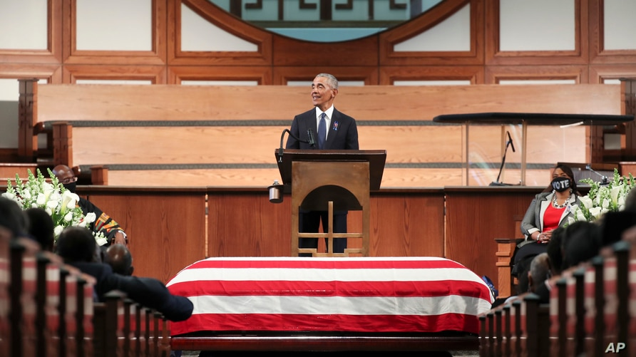 Former President Barack Obama, addresses the service during the funeral for the late Rep. John Lewis, D-Ga., at Ebenezer…