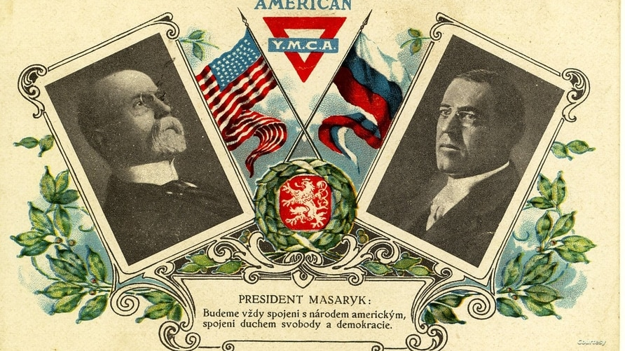 U.S. President Woodrow Wilson (R) is shown in this postcard, circa 1920, alongside Tomas G. Masaryk, the first President of Czechoslovakia.