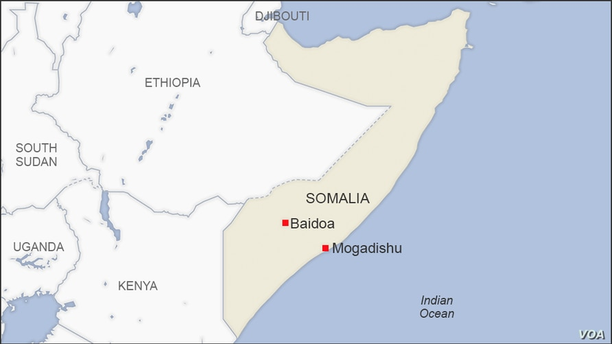 Map of Mogadishu and Baidoa Somalia