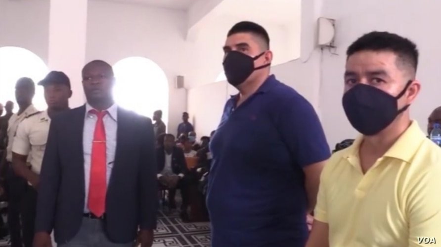 Mexicans Juan Jose Avila and Andres Vargas Flores in court as their sentence is read, July 15, 2020 in Les Cayes, Haiti. (Jean H