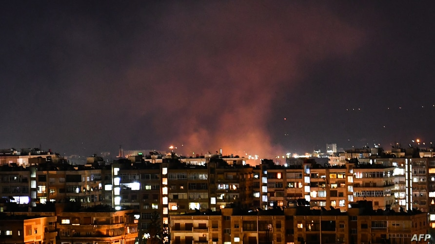Smoke billows following an Israeli airstrike targeting south of the capital Damascus, Syria, July 20, 2020.